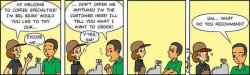 Comic strip about recommendations and customer's privileges when ordering